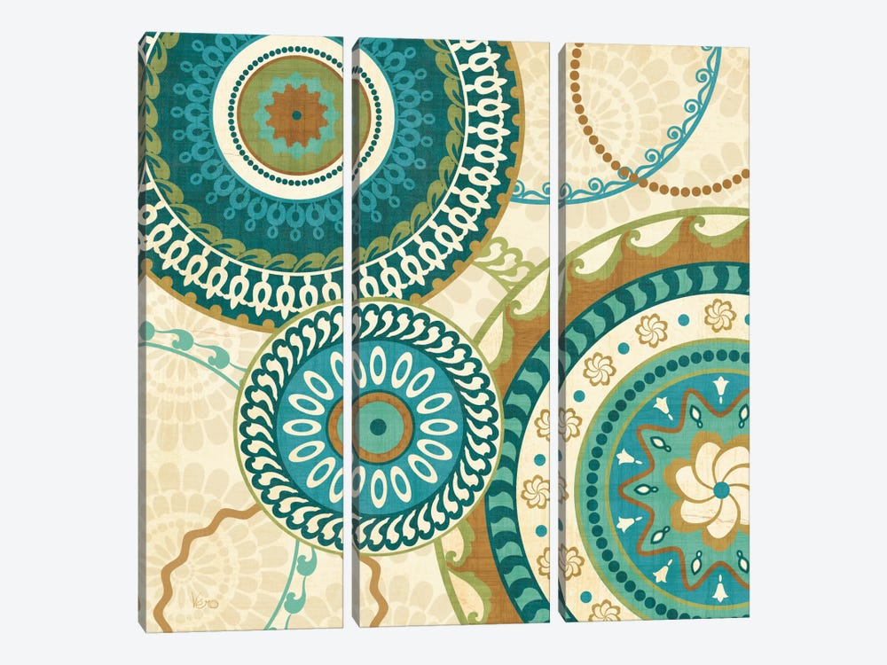 Owl Forest Suzani I by Veronique 3-piece Canvas Print