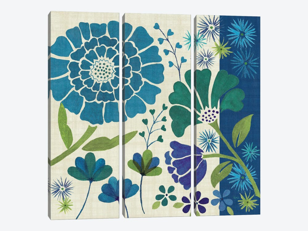 Blue Garden II by Veronique 3-piece Canvas Artwork
