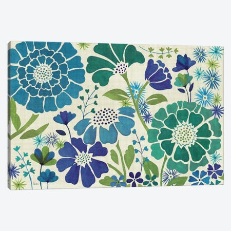 Blue Garden  Canvas Print #WAC1576} by Veronique Canvas Artwork