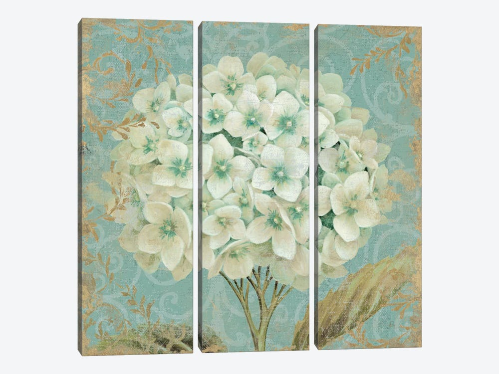 Hydrangea Square II by Wild Apple Portfolio 3-piece Canvas Art