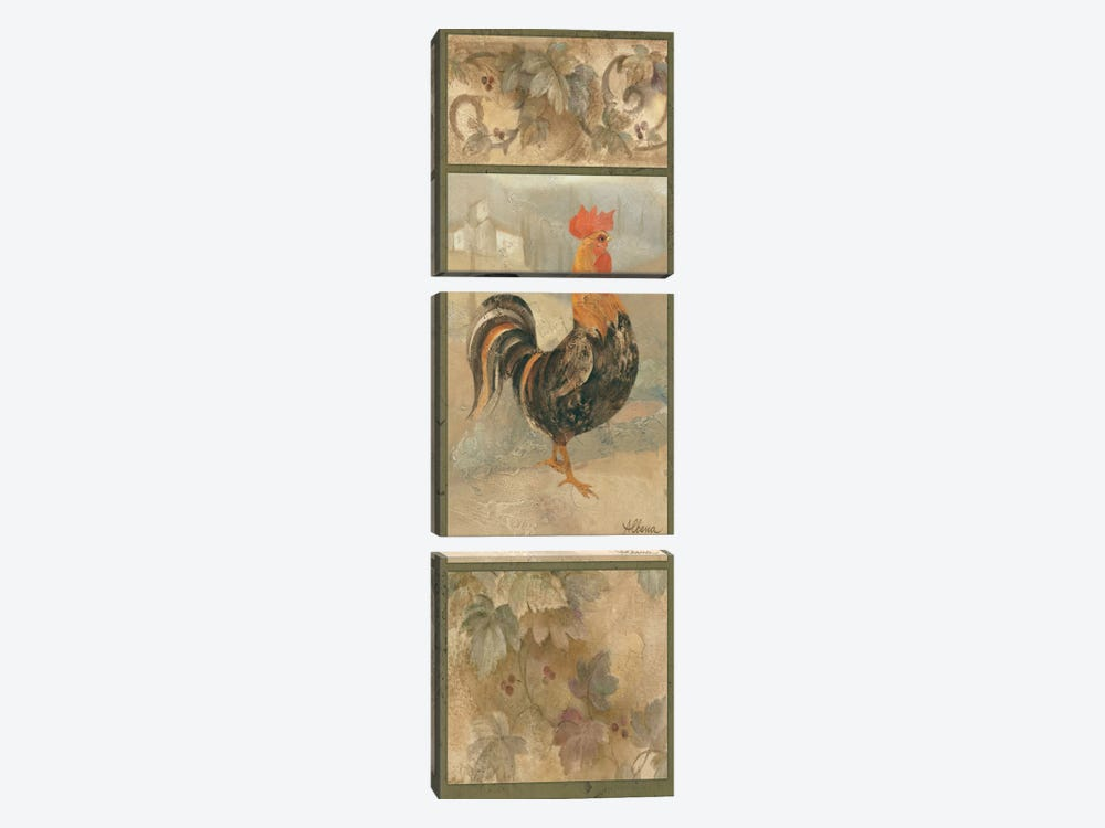 Black Rooster by Wild Apple Portfolio 3-piece Canvas Art Print