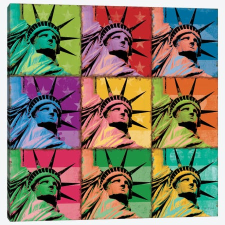 Pop Liberty Canvas Print #WAC1645} by Ben Richard Canvas Wall Art