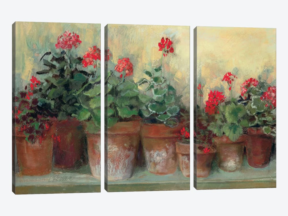 Kathleen's Geraniums by Carol Rowan 3-piece Canvas Artwork