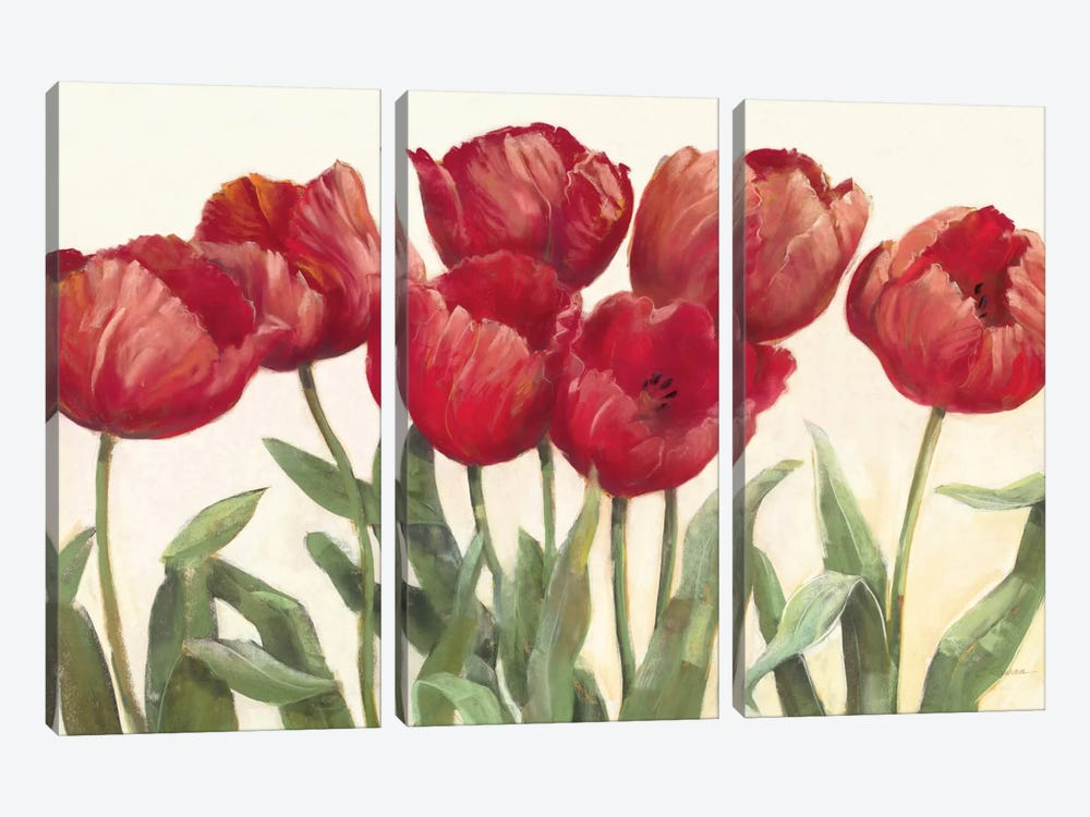 Ruby Tulips 3-piece Canvas Print