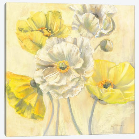 Gold and White Contemporary Poppies I Canvas Print #WAC1661} by Carol Rowan Art Print