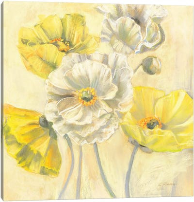 Gold and White Contemporary Poppies I Canvas Art Print