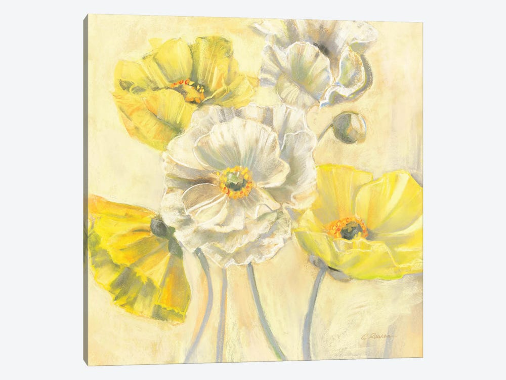 Gold and White Contemporary Poppies I by Carol Rowan 1-piece Canvas Print