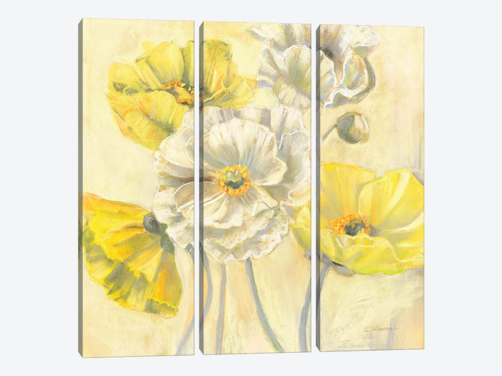 Gold and White Contemporary Poppies I by Carol Rowan 3-piece Art Print