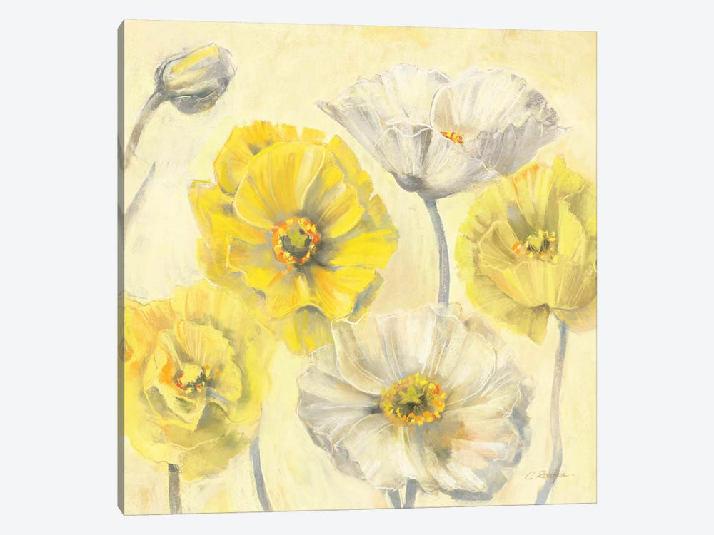 Gold and White Contemporary Poppies II by Carol Rowan 1-piece Canvas Artwork