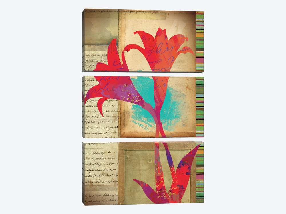 Floral Notes II by Dominic Orologio 3-piece Canvas Art Print