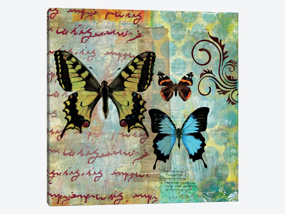 Homespun Butterfly I 1-piece Canvas Wall Art