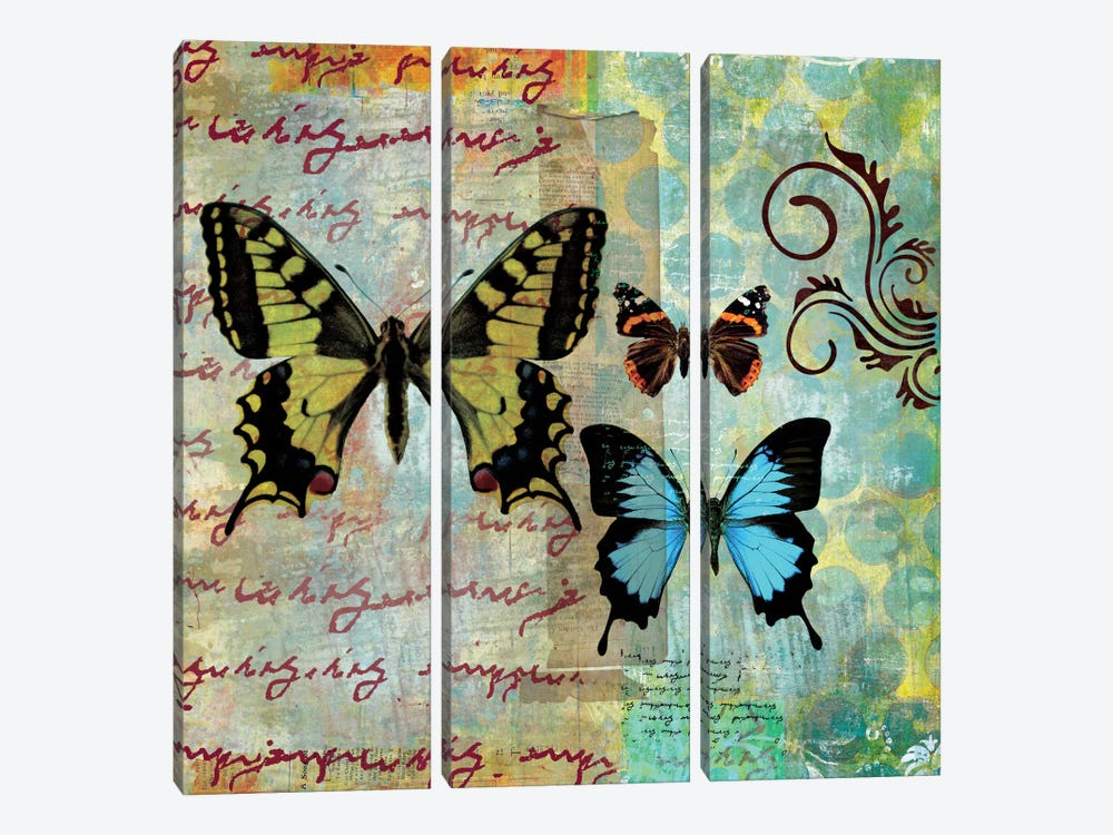 Homespun Butterfly I 3-piece Canvas Wall Art