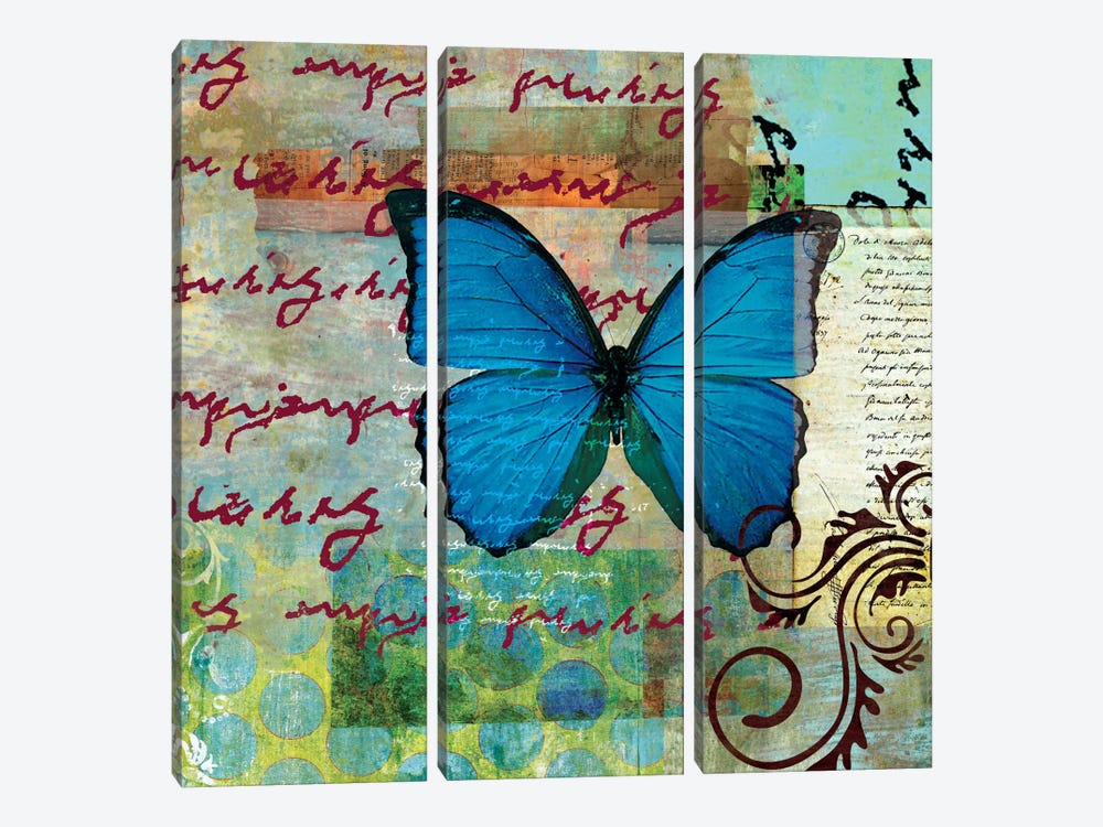 Homespun Butterfly II by Dominic Orologio 3-piece Canvas Art Print