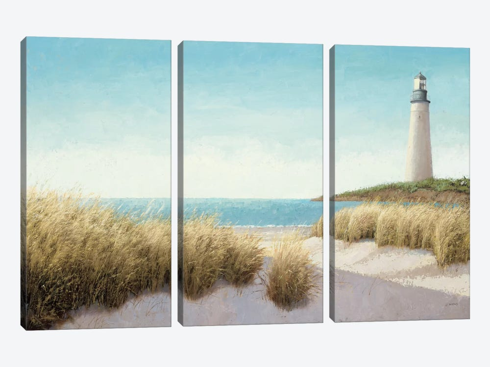Lighthouse by the Sea by James Wiens 3-piece Canvas Artwork