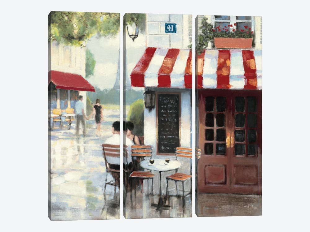 Relaxing at the Cafe II by James Wiens 3-piece Canvas Art