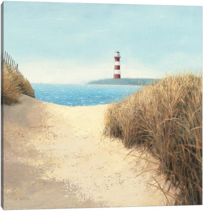 Beach Path Square Canvas Art Print