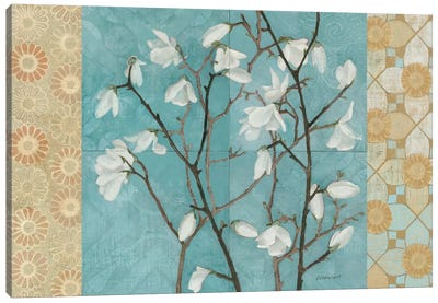 Patterned Magnolia Branch Canvas Art Print