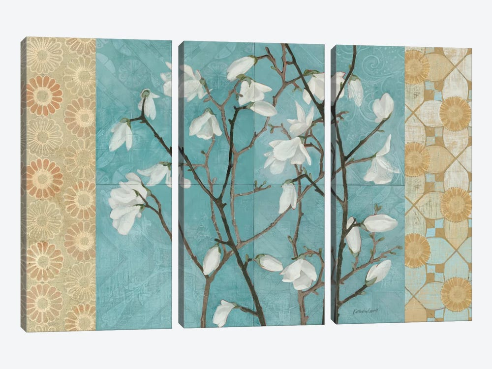 Patterned Magnolia Branch by Kathrine Lovell 3-piece Canvas Wall Art