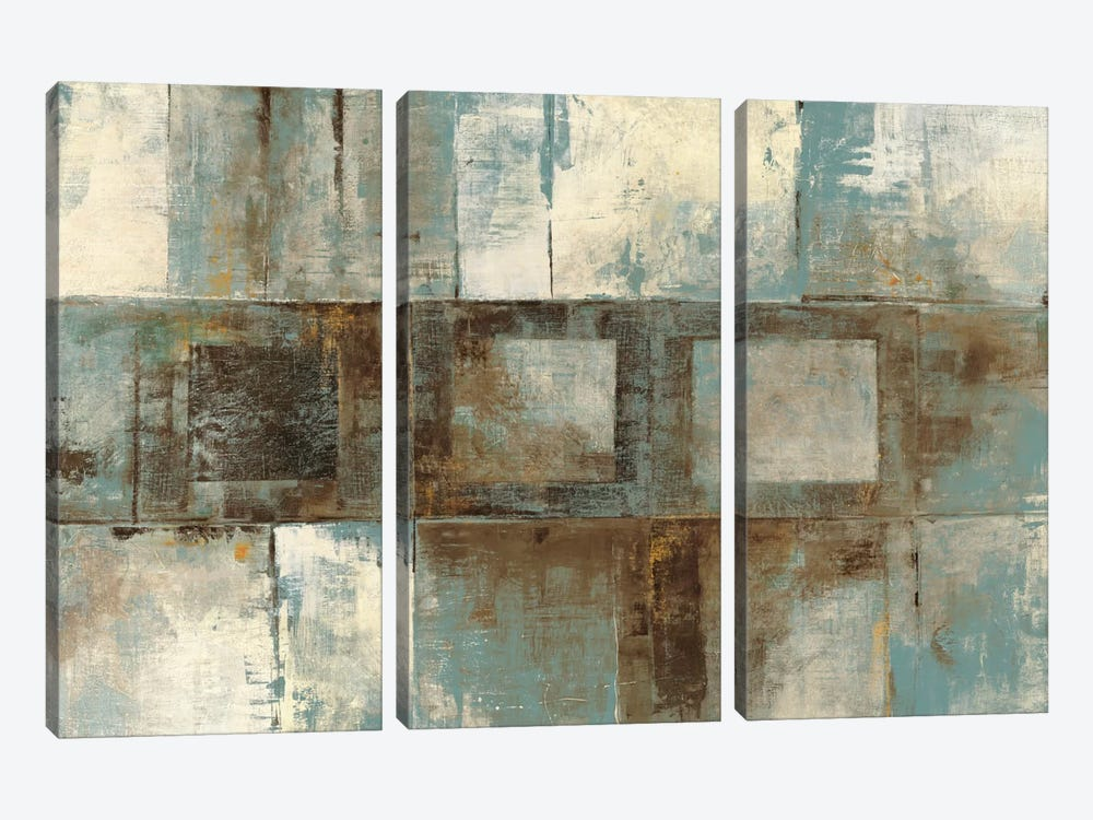 Euclid Ave Variations Blue & Brown by Mike Schick 3-piece Canvas Print