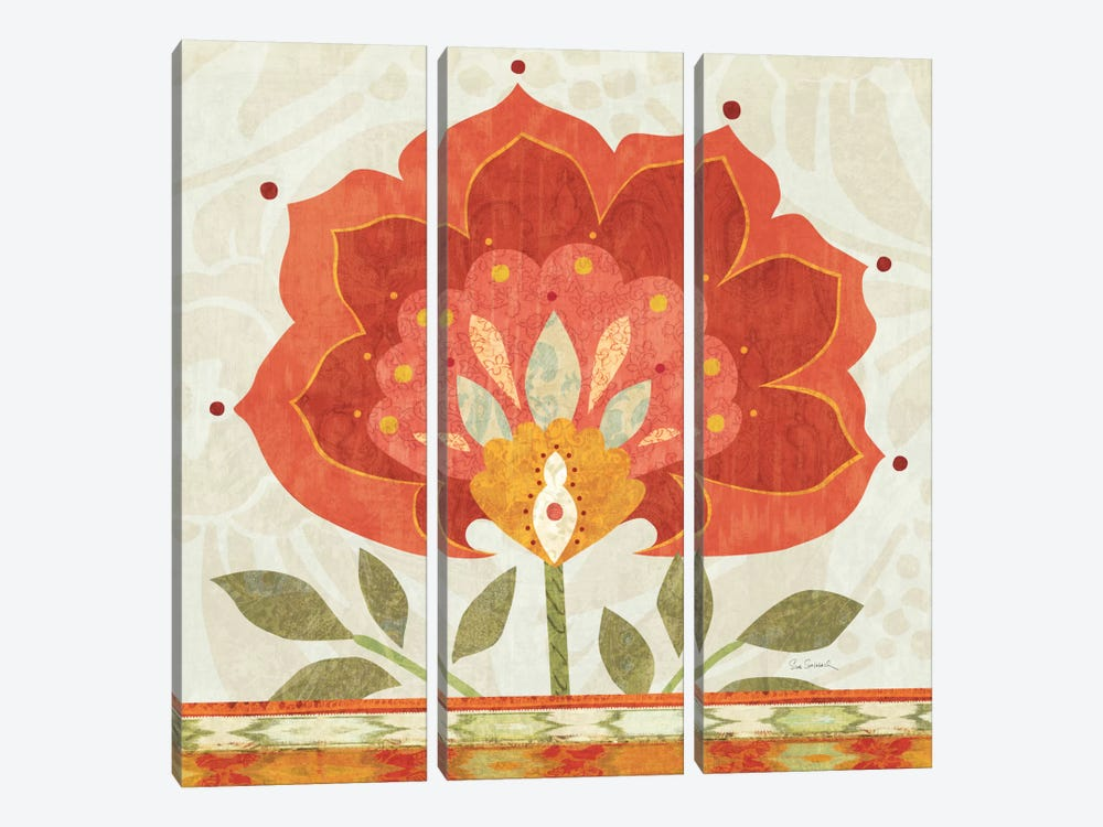 Ikat Bloom I 3-piece Canvas Print