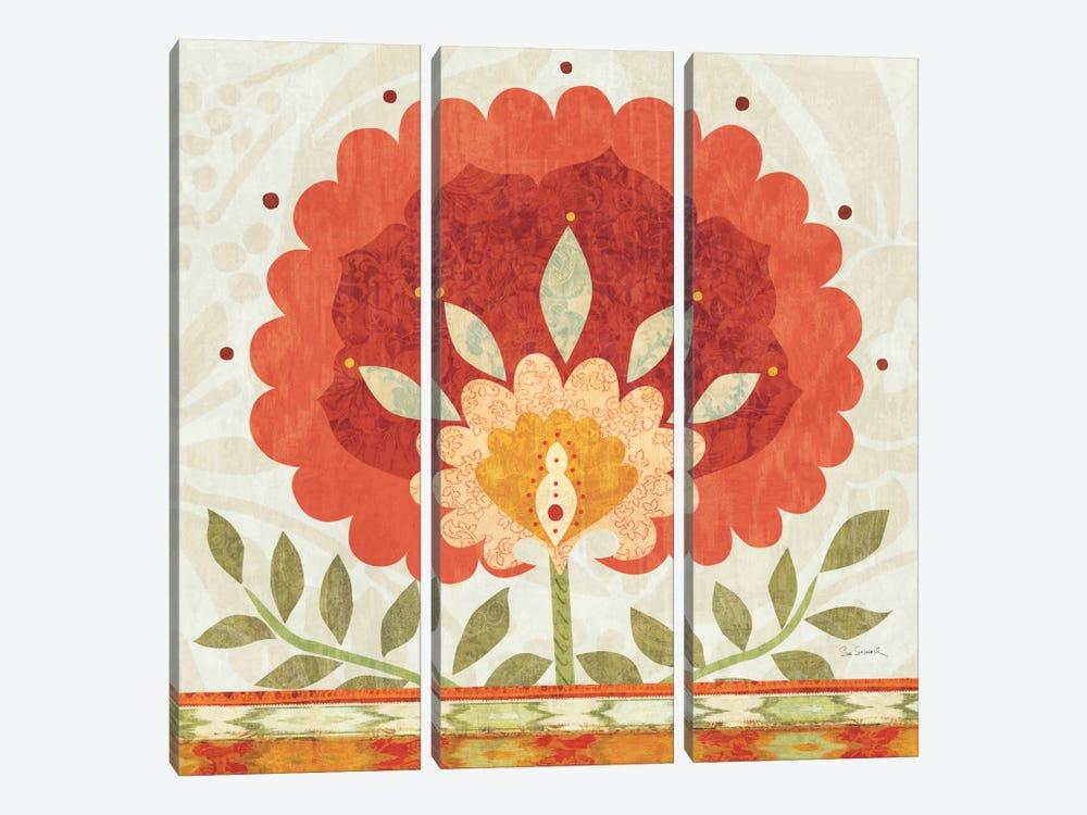 Ikat Bloom II by Sue Schlabach 3-piece Canvas Art