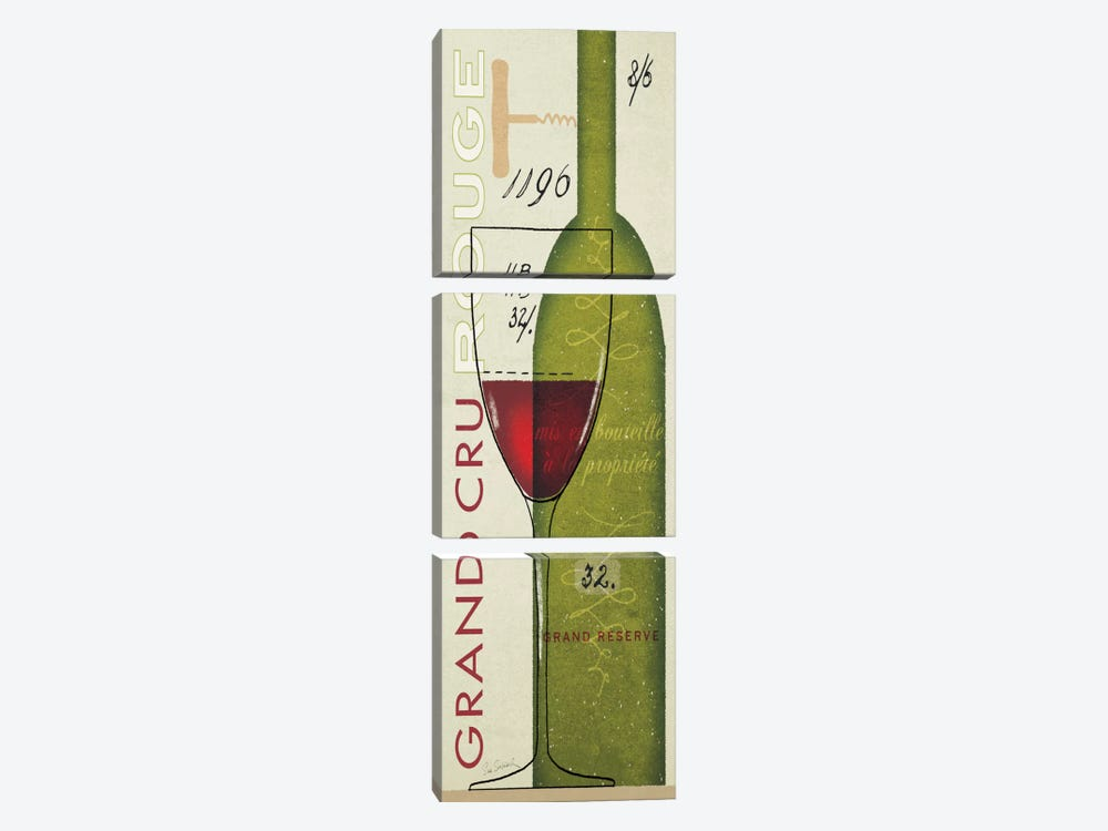 Grand Cru Rouge by Sue Schlabach 3-piece Canvas Artwork