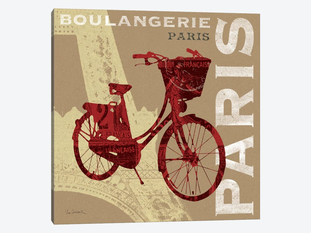 Cycling in Paris by Sue Schlabach 1-piece Canvas Wall Art