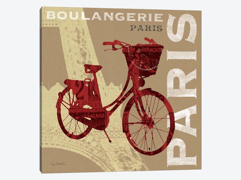 Cycling in Paris by Sue Schlabach 1-piece Canvas Wall Art