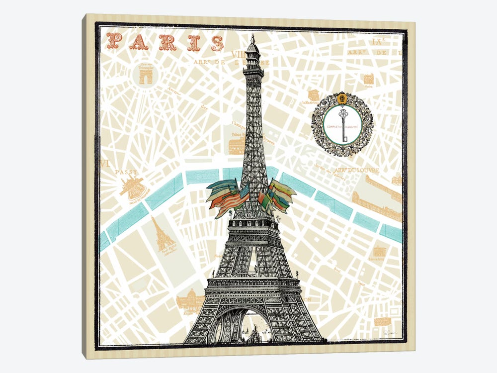Monuments des Paris Eiffel  by Sue Schlabach 1-piece Art Print