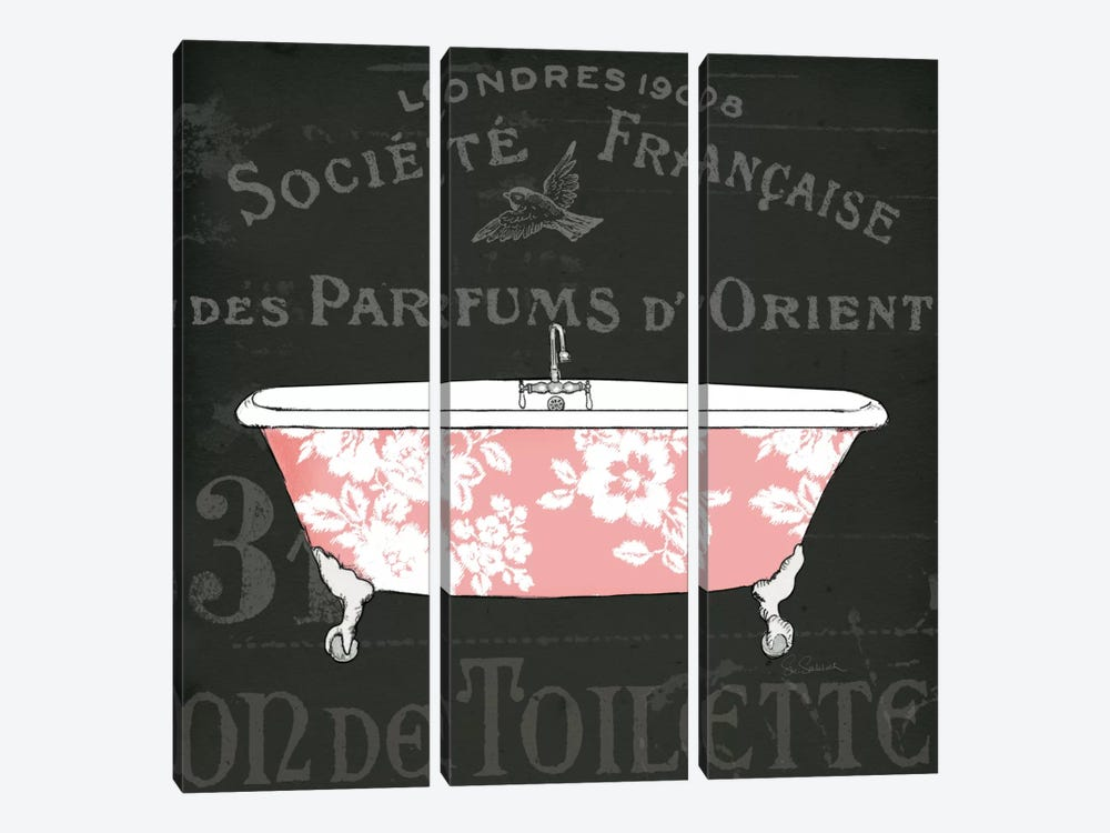 Chalkboard Bath II by Sue Schlabach 3-piece Canvas Print
