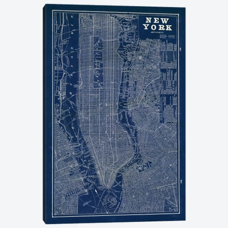Blueprint Map New York  Canvas Print #WAC1856} by Sue Schlabach Canvas Art Print