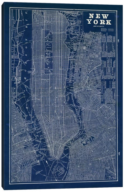 Blueprint Map New York Canvas Art Print