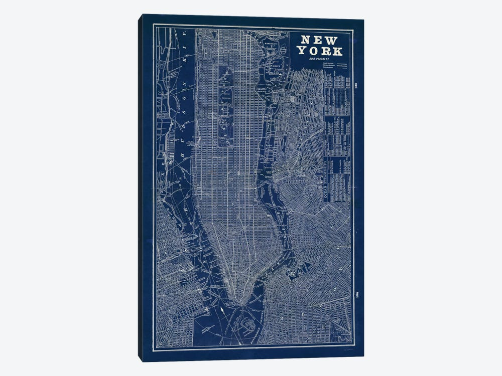 Blueprint Map New York by Sue Schlabach 1-piece Canvas Artwork