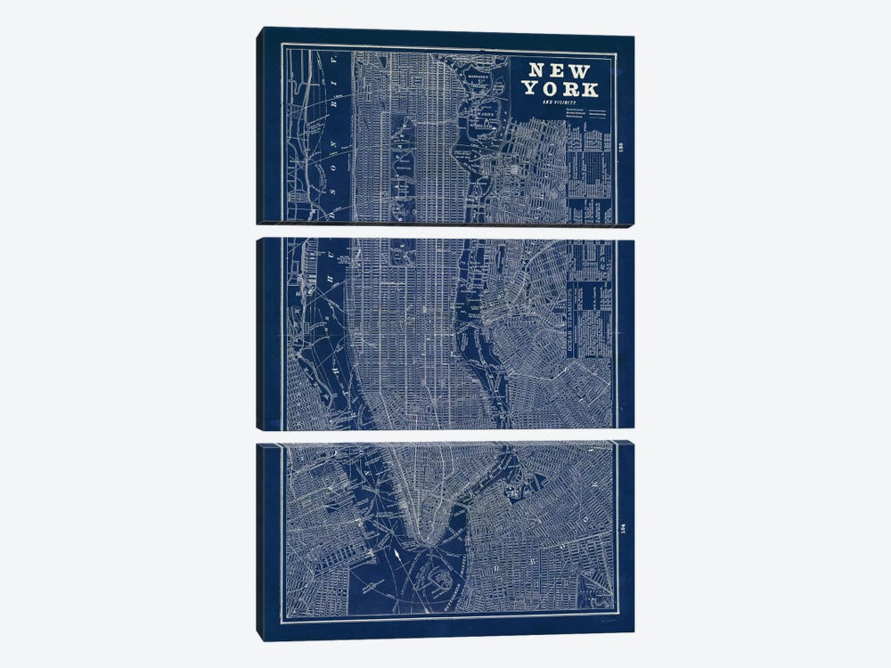 Blueprint Map New York by Sue Schlabach 3-piece Canvas Artwork