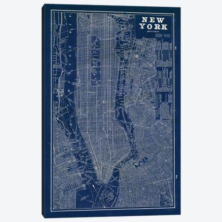 Blueprint Map New York  Canvas Print #WAC1856} by Sue Schlabach Canvas Art Print