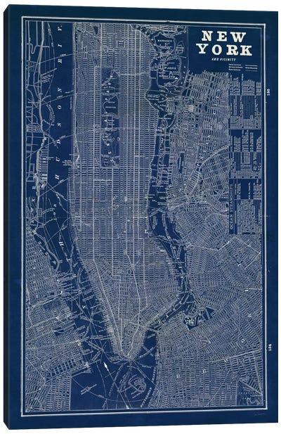 Blueprint Map New York  Canvas Art Print