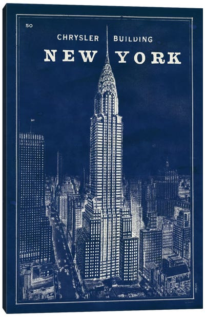 Blueprint Map New York Chrysler Building  Canvas Art Print
