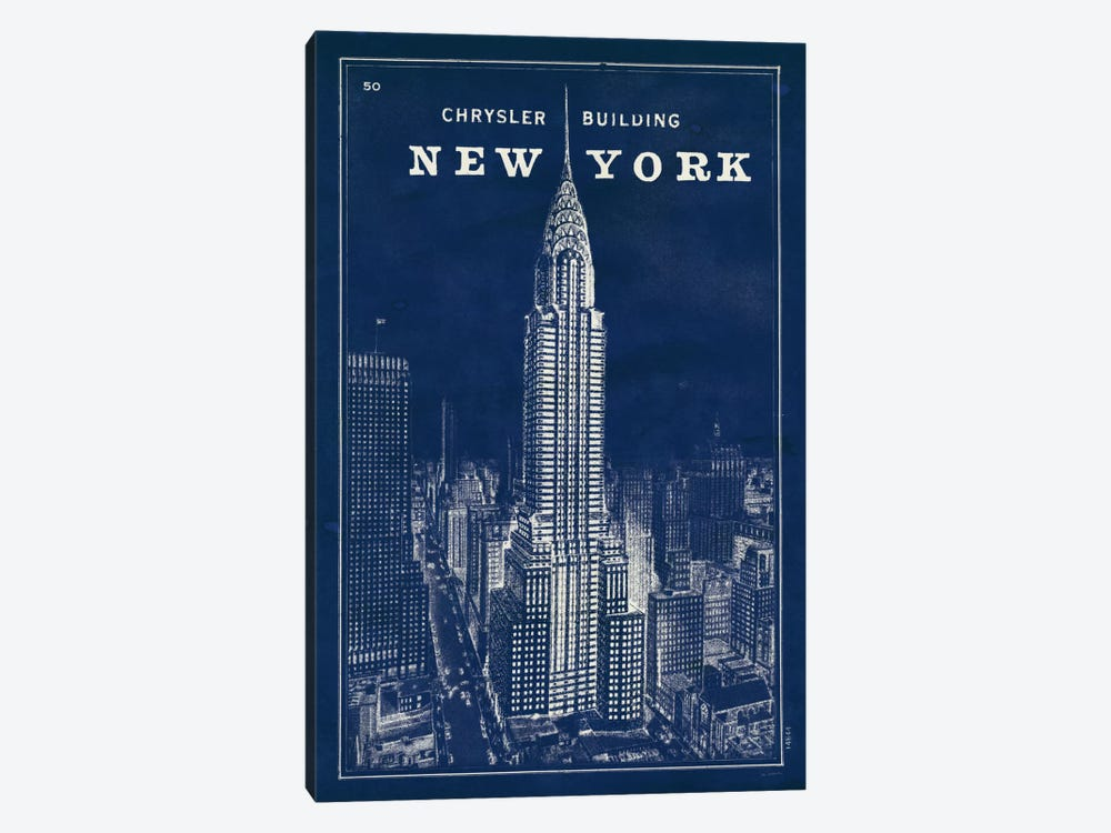 Blueprint Map New York Chrysler Building  by Sue Schlabach 1-piece Canvas Art Print