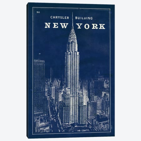 Blueprint Map New York Chrysler Building  3-Piece Canvas #WAC1857} by Sue Schlabach Canvas Art Print