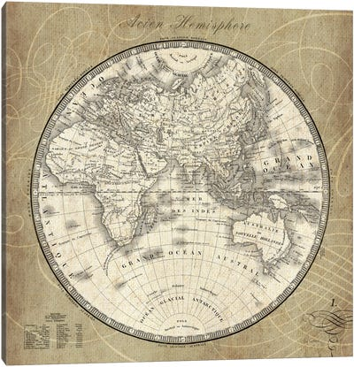 French World Map II Canvas Art Print
