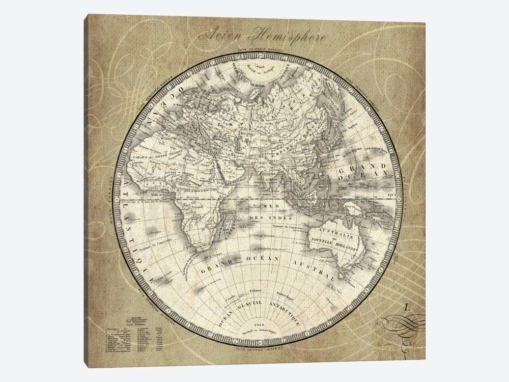 French World Map II  by Sue Schlabach 1-piece Canvas Art Print