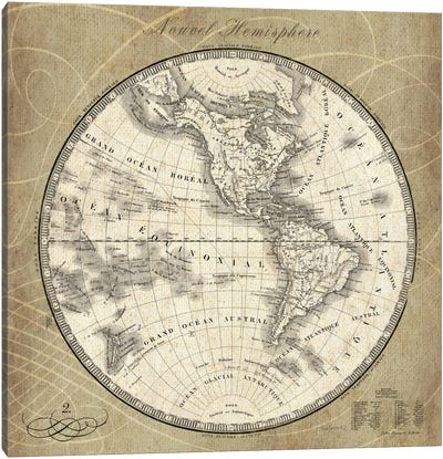 French World Map III Canvas Art Print