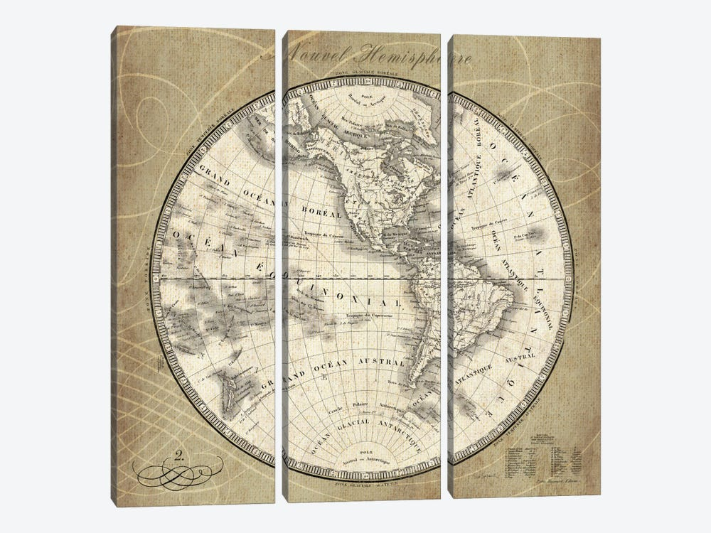 French World Map III by Sue Schlabach 3-piece Canvas Wall Art