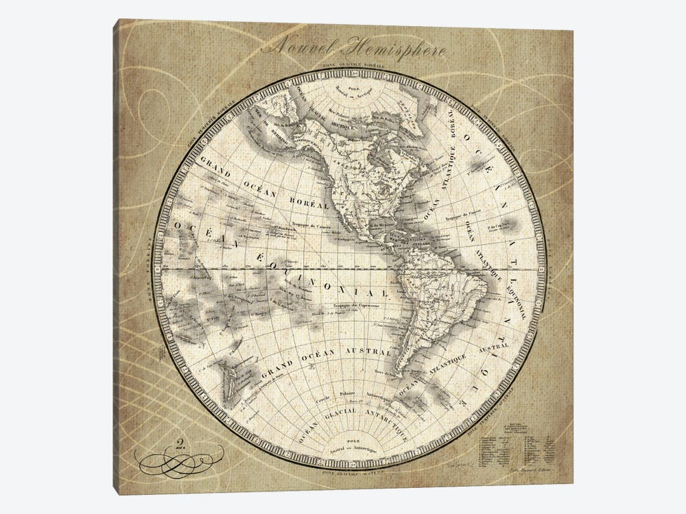 French World Map III  by Sue Schlabach 1-piece Canvas Artwork