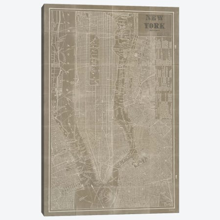 Blueprint Map New York Taupe  Canvas Print #WAC1870} by Sue Schlabach Canvas Art