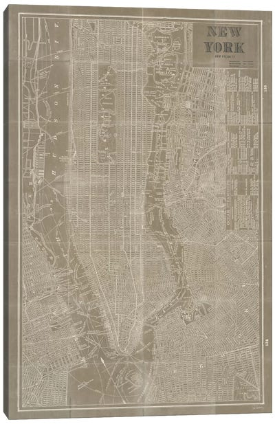 Blueprint Map New York Taupe Canvas Art Print