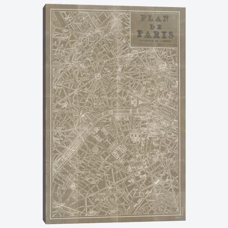 Blueprint Map Paris Taupe  Canvas Print #WAC1871} by Sue Schlabach Canvas Wall Art