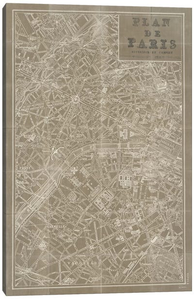 Blueprint Map Paris Taupe  Canvas Art Print
