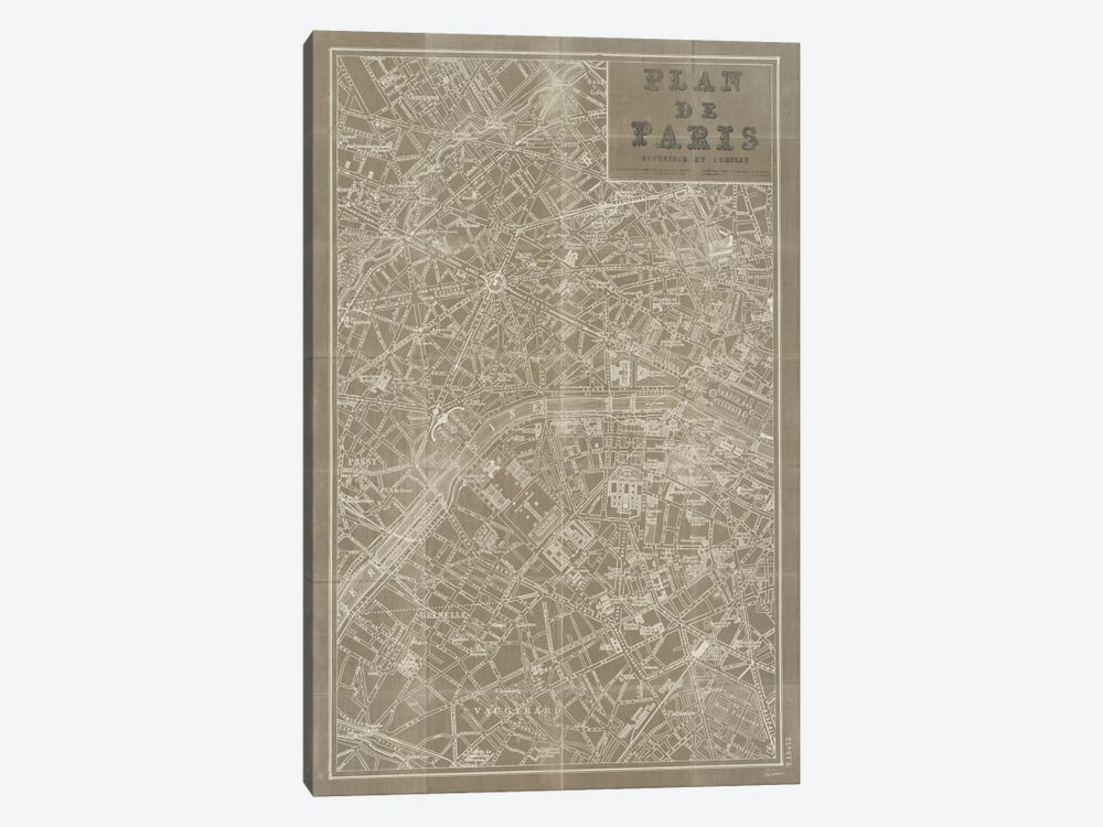Blueprint Map Paris Taupe  by Sue Schlabach 1-piece Art Print
