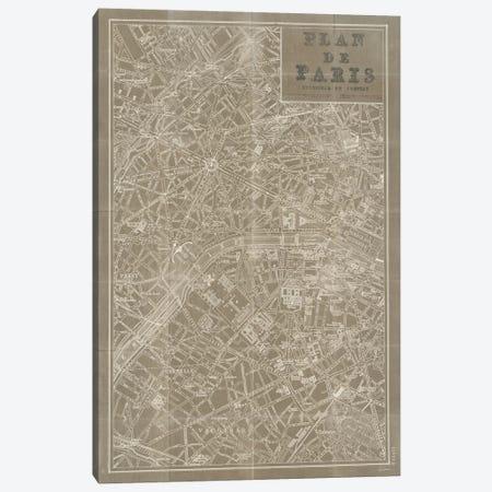 Blueprint Map Paris Taupe  Canvas Print #WAC1871} by Sue Schlabach Canvas Wall Art